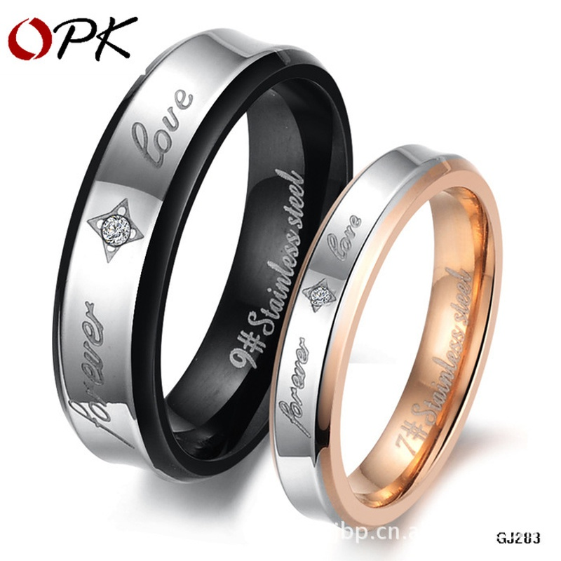 new fashion zircon titanium steel rhinestone couple rings NHOP313383
