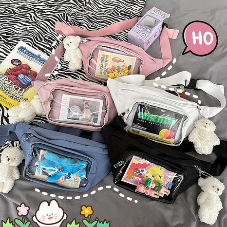 Korean cute transparent messenger shoulder bag NHTG313575's discount tags