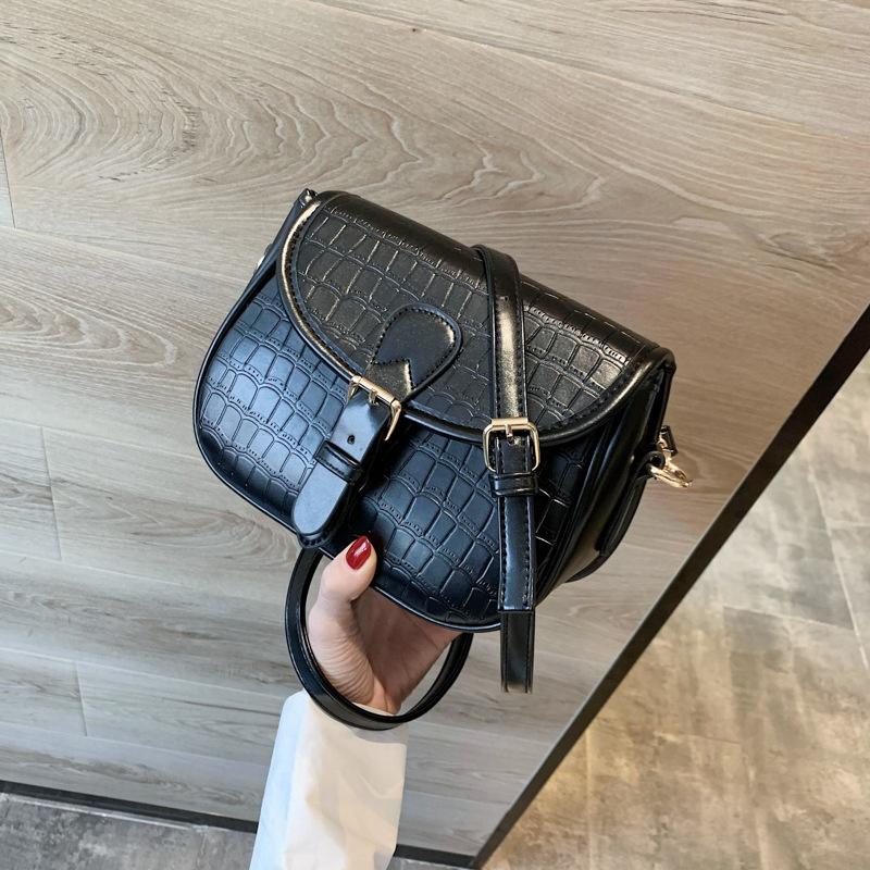 new korean embossed stone grain saddle bag NHTG313579