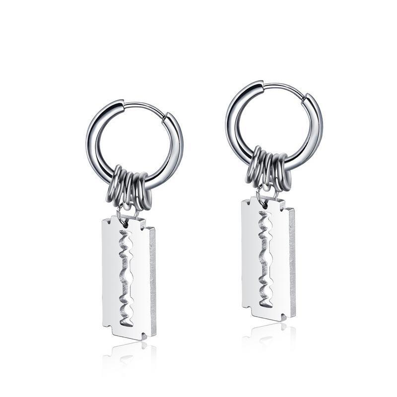 fashion titanium steel blade earrings  NHOP313445