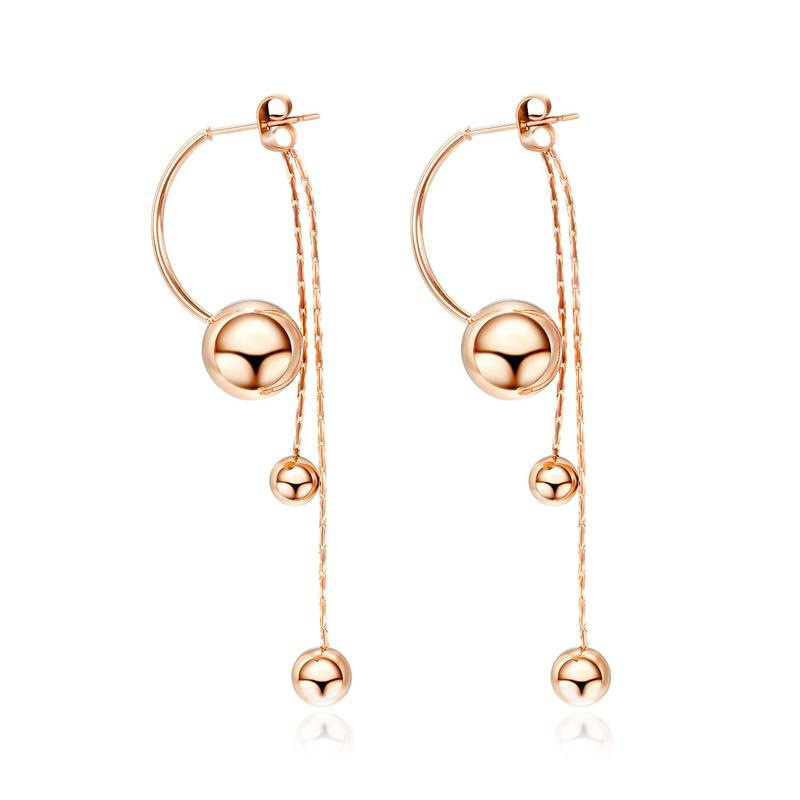 glossy long bead simple earrings NHOP313486