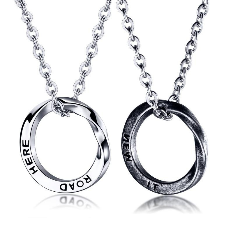 simple fashion titanium steel circle necklace NHOP313423