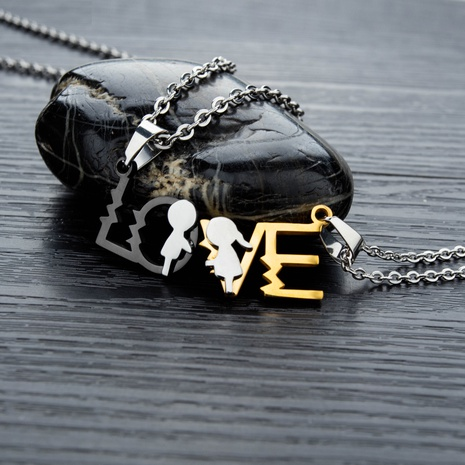 Korean love letter couple necklace NHOP313490's discount tags