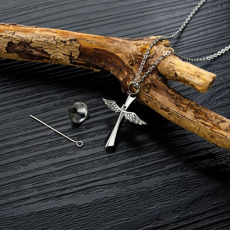 simple titanium steel cross wings necklace NHOP313380's discount tags