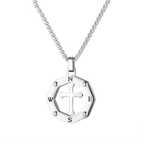 collar de acero de titanio con colgante de cruz hueca NHOP313400's discount tags