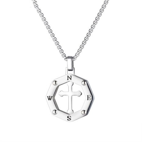 hollow cross pendant titanium steel necklace NHOP313400's discount tags