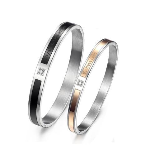 einfaches Strass endloses Liebespaar Titan Stahl Armband NHOP313379's discount tags