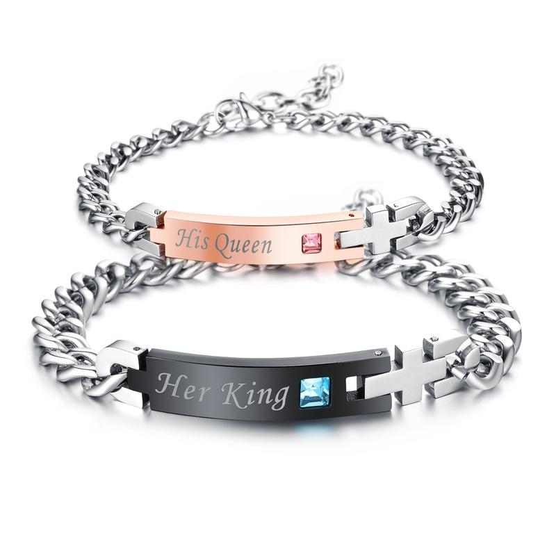 fashion titanium steel couple diamond bracelet  NHOP313397