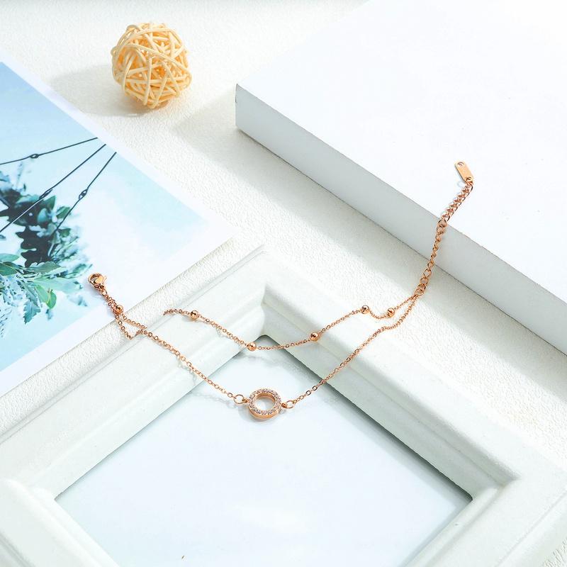 simple titanium steel circle diamond double layer bracelet NHOP313408