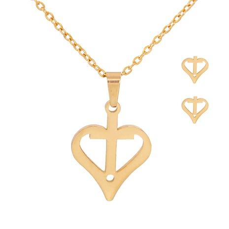 Fashion Cross Heart Shaped Necklace Earrings Set NHJJ303071's discount tags