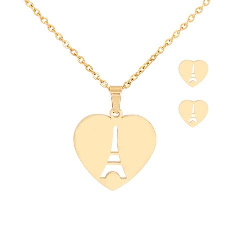Conjunto de pendientes de collar de Torre Eiffel en forma de corazón de moda NHJJ303079's discount tags