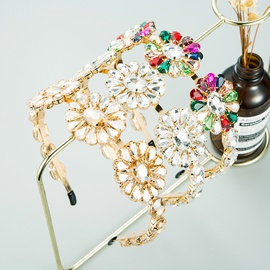 neue Mode übertrieben Metall eingelegt Glas Diamant Blume Stirnband NHLN303082