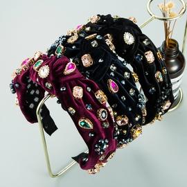 Neues Barock Retro Gold Samt Nähkristall Stirnband NHLN303083