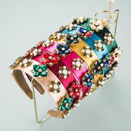 neue Legierung eingelegte Perle Strass Blume Stirnband NHLN303084