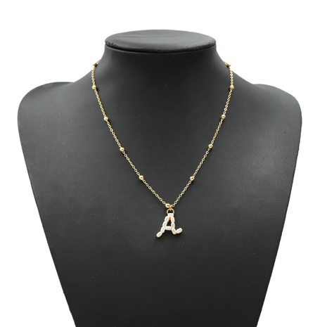 collier lettre or avec perles rondes NHJQ303091's discount tags