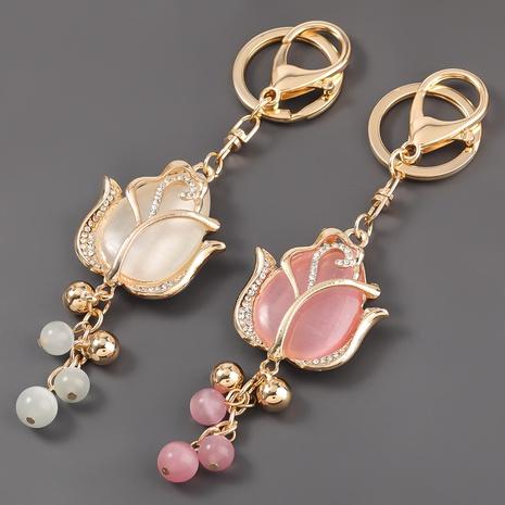 porte-clés de fleur de résine de diamant d'alliage NHJE303117's discount tags