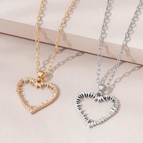 creative exaggerated wild hollow peach heart couple necklace NHPS303213's discount tags