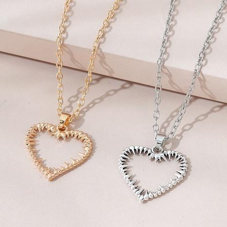 collar de pareja de corazón de melocotón hueco salvaje exagerado creativo NHPS303213's discount tags