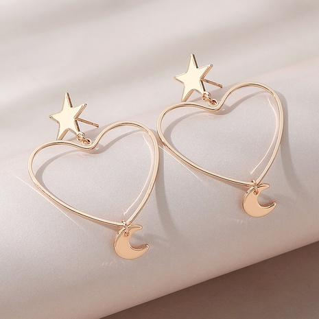 fashion creative popular hollow peach heart star moon earrings NHPS303232's discount tags
