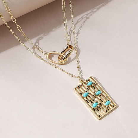 Korean creative fashion double-layer necklace set NHPS303264's discount tags
