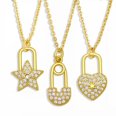 Korean retro diamond lock copper necklaceNHAS303280's discount tags