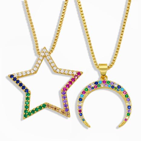 moda simple collar colgante de estrella de cinco puntas luna NHAS303281's discount tags