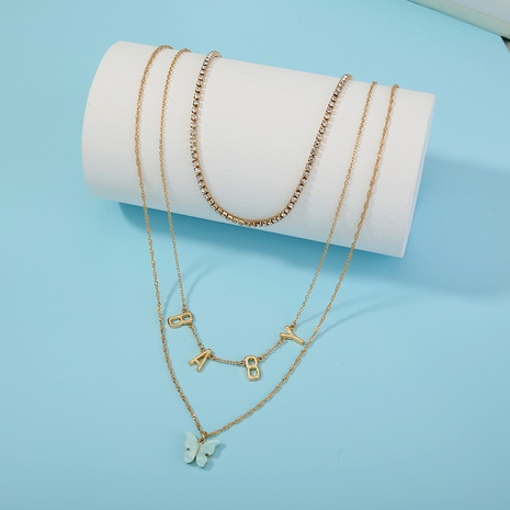 fashion butterfly multilayer letter necklace NHAN303329's discount tags