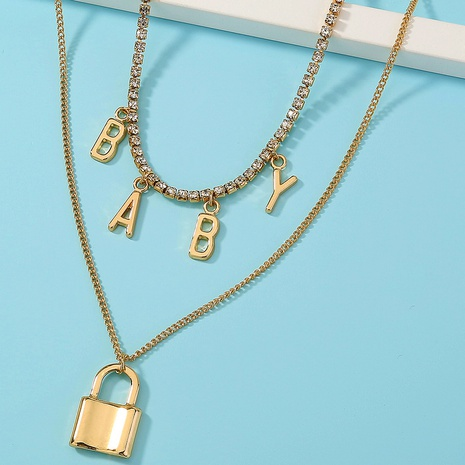 fashion lock letter pendant multilayer alloy necklace NHAN303330's discount tags