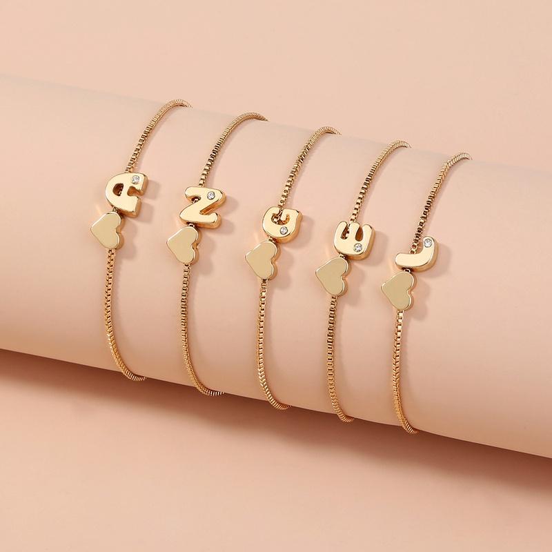 simple golden 26 English alphabet bracelet NHAN303331