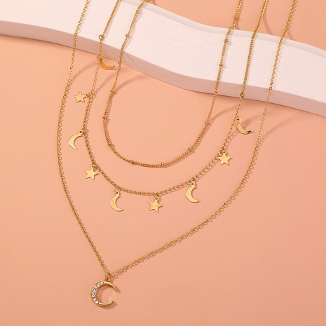 multi-layered diamond-studded moon necklace  NHAN303338's discount tags