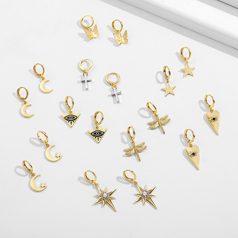 fashion classic star moon cone earrings NHLL303354's discount tags