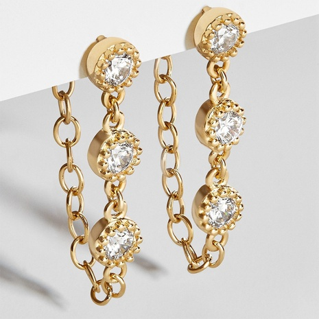 3 round diamond chain earrings NHLL303355's discount tags