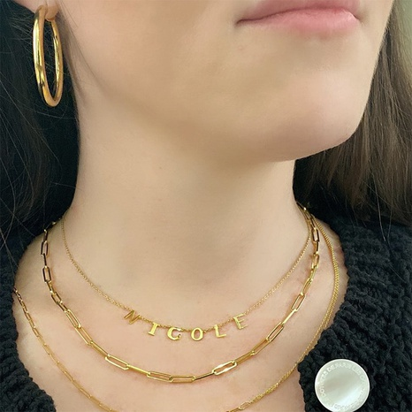golden letter pendant necklace NHLL303358's discount tags