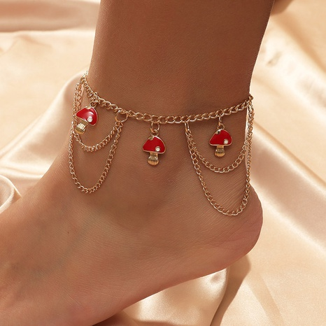 Bohemian multilayer chain mushroom anklet  NHLA303366's discount tags