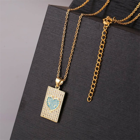copper inlaid zirconium heart-shaped necklace  NHLA303368's discount tags
