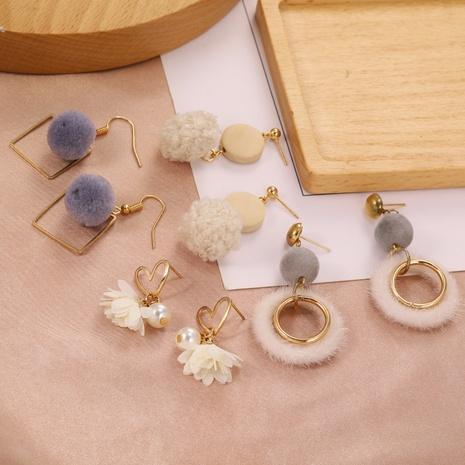 Korean new plush earrings  NHPF303382's discount tags