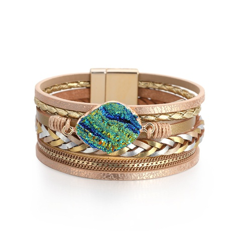 Bohemian multi-layer leather braided diamond bracelet NHBD303397's discount tags