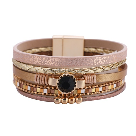 Bohemian braided leather artificial gemstone bracelet NHBD303406's discount tags