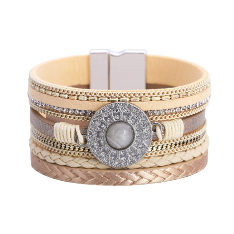 Bohemian leather diamond bracelet  NHBD303412's discount tags