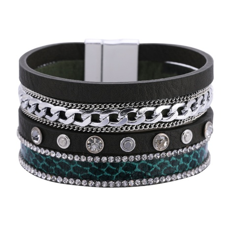 bohemian chain snake pattern leather bracelet  NHBD303415's discount tags