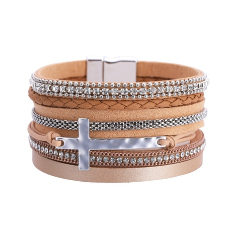 bohemian diamond cross leather magnetic buckle bracelet NHBD303422's discount tags