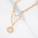 multilayer hollow tag pendant necklace  NHBD303423
