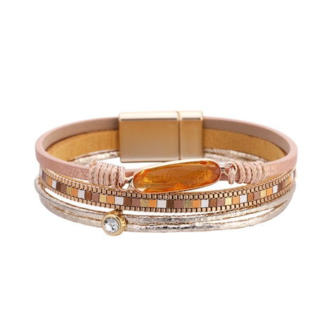 Bohemian fashion crystal magnetic buckle leather bracelet NHBD303428's discount tags