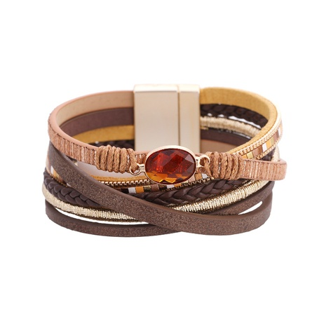 Bohemian Crystal Leather Bracelet NHBD303433's discount tags