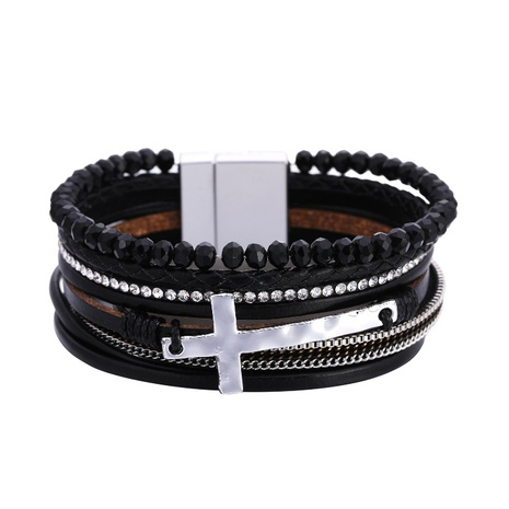 Bohemian retro magnetic buckle leather bracelet NHBD303434's discount tags