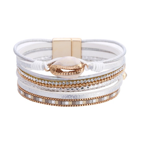 Bohemian shell leather bracelet  NHBD303435's discount tags