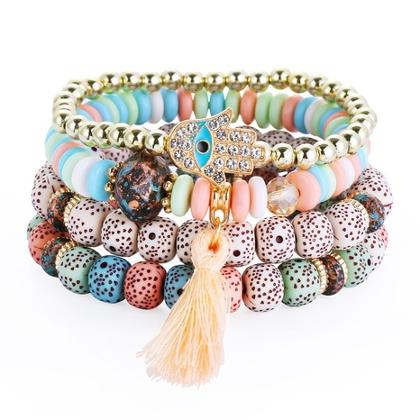 multi-layered Bohemian beaded tassel bracelet NHBD303456's discount tags