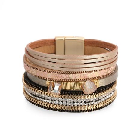 Bohemian leather diamond-studded wide-sided bracelet  NHBD303458's discount tags