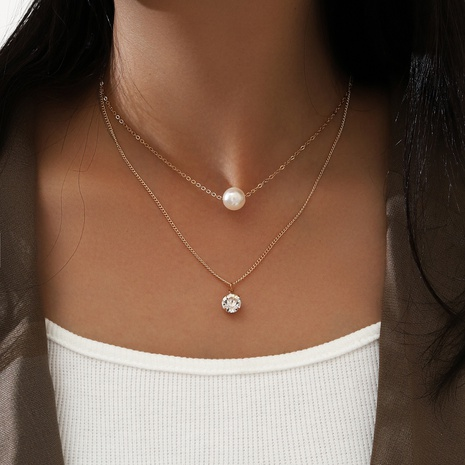 Mode doppelschichtige Imitation Perlenkette NHPV303464's discount tags