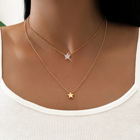 fashion double layered star rhinestone necklace NHPV303467's discount tags